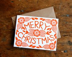 """A set of six block printed holiday cards, printed with a hand-carved linoleum block.    The card is a standard A2 size, or 5 ½"""" by 4 ¼"""", and"""