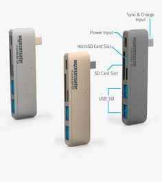 Get your lost USB ports back with this USB Type-C Hub, you have two USB 3.0 ports, an SD/MicoSD card and you even have a port to charge you Apple MacBook 12.