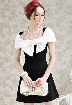 Retro Black and white elegant dress