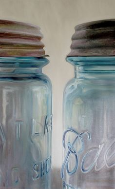 "Two Halves Don't Always Make a Whole by Sally Tharp  ~ 60"" x 36"" Mason Jar Art, Blue Mason Jars, Bottles And Jars, Mason Jar Crafts, Painting Competition, Painted Mason Jars, Ball Jars, Canning Jars, Still Life Art"