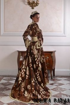 brown n gold caftan