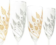 Gold Champagne Glasses Champagne Flutes Gold Wedding by decouverre