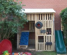 Kids Pallet Playhouse With Climbing Wall Fun Crafts for Kids Huts, Cabins & Playhouses