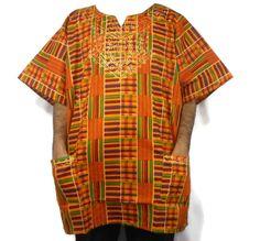 Dashiki African Men Women Kente Shirts Tribal Traditional Ethnic Blouse One Size #Handmade #Dashiki