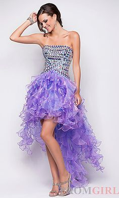 Strapless Embellished Ruffle High Low Dress at PromGirl.com