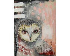 Original owl painting mixed media art painting on wood canvas