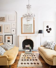 Ali Cayne NYC townhouse home Greenwich Village - lovely yellow velvet sofas