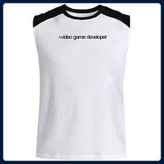 Idakoos - Hashtag Video Game Developer - Occupations - Raglan Sleeveless T-Shirt - Gamer shirts (*Amazon Partner-Link)