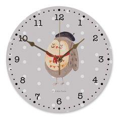 """30 cm Wanduhr Eule Französisch aus MDF  Weiß - Das Original von Mr. & Mrs. Panda.  Diese wunderschöne Uhr von  Mr. & Mrs. Panda wird liebeveoll in unserem Hause bedruckt und an sie versendet. Sie ist das perfekte Geschenk für kleine und große Kinder, Weltenbummler und Naturliebhaber. Sie hat eine Grösse von 30 cm und ein absolut LAUTLOSES Uhrwerk.    Über unser Motiv Eule Französisch  Ganz nach dem Motto """"La vie est belle"""". Die wunderbare französisch Eule von Mr. & Mrs. Panda.    Verwendete…"""