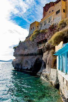 Ormos, old port in Fira, Santorini, Greece                                                                                                                                                                                 More
