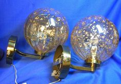 Pair Mid Century Brass & Glass Gilt Flake Shades Wall Lamps Mirror Sconces #O/D