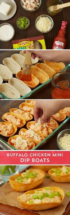 Get buffalo chicken dip in a portable, party-friendly mini taco boat with this easy recipe. Old El Paso™ mini Taco Boats™ get dressed up with a melted butter and hot sauce before getting stuffed with a super easy party favorite. Ranch dressing, chopped co Mini Tacos, I Love Food, Good Food, Yummy Food, Tasty, Food For Thought, Chicken Minis, Chicken Sliders, Football Food