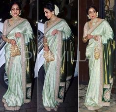 Yay or Nay : Sridevi in Sabyasachi for Karva Chauth Celebrations Saree Wearing Styles, Saree Styles, Hair Style On Saree, Sabyasachi Sarees, Ethnic Sarees, Indian Sarees, Wedding Saree Collection, Indian Outfits, Pakistani Outfits