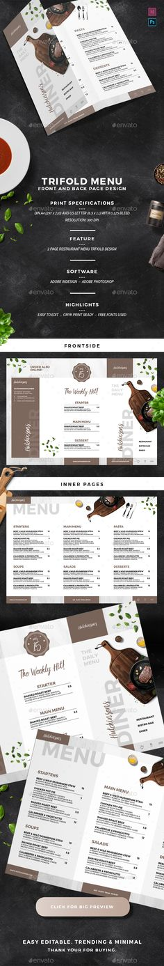 Restaurant Trifold Menu Design Template PSD, InDesign INDD - A4 and US Letter Size. Download here: https://graphicriver.net/item/restaurant-trifold-menu/21946867?ref=ksioks