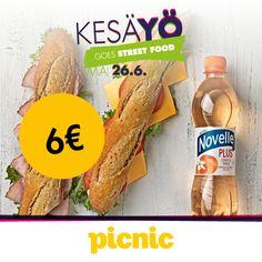 PICNIC Kinkku- tai juustopatonki + 0,5l juomapullo 6 € (norm. 9,10 €)