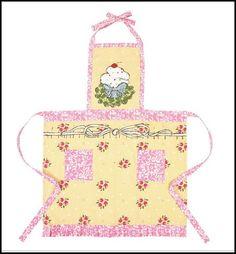 So Sweet Yellow & Pink Bib Apron Cupcake Rosanna Design