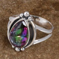 NEW STYLE SOLID 925 STERLING SILVER Mystic AMAZING RING 3.76g DJR8490 S-7 #Handmade #Ring