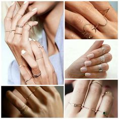 Finom, nőies és trendi. Viselj egyszerre több, vékony gyűrűt ujjaidon!  #ring #fashion #dainityring #summerfashion #gold #silver