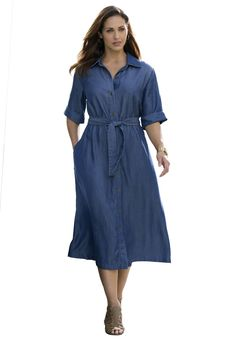 "A casual-chic button-front shirtdress with a fit-and-flare skirt with a self-tie belt is perfect for any occasion.  in a fit and flare silhouette that creates the perfect hour glass look 48"" length ends at mid-calf button-front shirtdress cuffed three-quarter sleeves with set-in armholes for an effortless fit self-tie belt and side pockets Tencel® machine wash; imported  Shirt dresses in sizes 12, 14, 16, 18, 20, 22, 24, 26, 28   Fit and Fashion Notes:This  shirtdress in a fit and ..."
