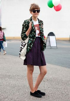 Hel Looks - Street Style from Helsinki. floral print blazer, graphic tee, pinstriped skirt and sneakers.