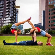 easy acro stunt for 3 people  easy yoga poses 3 person