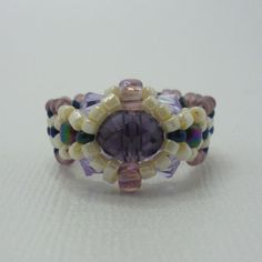 Purple Nightshades Glass and Crystal Beaded Ring by Beadaches, $13.00
