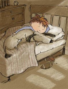 Boy and his pooch go nighty night. - illustration by Deborah Melmon <> (dog, kids, children, art) Nighty Night, Animation, Children's Book Illustration, Book Illustrations, Whimsical Art, Dog Art, Cute Art, Childrens Books, Cartoons