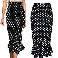 ANGVNS Women Dot Vintage Style High Waist Bodycon Mermaid Pencil Skirt