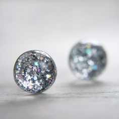 globe earrings in iridescent silver  8mm silver by tinygalaxies, $20.00