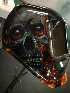 All images and content © copyright Mike Lavallee Inc. All rights reserved. Unauthorized use forbidden. Welding Helmet, Welding Art, Welding Stickers, Car Pinstriping, Helmet Accessories, Custom Tanks, Airbrush Art, Bike Art, Man Of Steel
