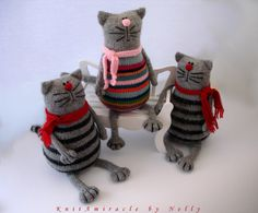 Toy cat knitting pattern Pablo the Serious Cat von KnitAmiracle