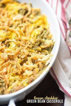 Green bean casserole with bacon! This green bean casserole recipe is so easy and there are NO cans of soup!