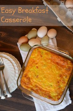 Easy Egg and Potato Breakfast Casserole - whips up in a hurry, easy to add anything to, and chalk full of protein. I serve it for dinner!