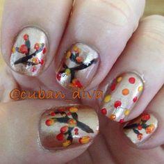 Golden Fall Leaf Nails - Cult Cosmetics Magazine