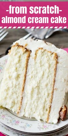 Almond Cream Cake Recipe Velvety, smooth, from-scratch white cake. - Almond Cream Cake Recipe Velvety, smooth, from-scratch white cake. Best Cake Recipes, Easy Cookie Recipes, Sweet Recipes, Baking Recipes, Wedding Cake Recipes, Cake Recipes From Scratch, Wedding Cake Recipe Cake Mix, Best Almond Wedding Cake Recipe, Best Birthday Cake Recipe From Scratch
