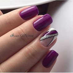 Sweet purple gel nails with some glitter - nails Purple Gel Nails, Purple Nail Art, Glitter French Manicure, Glitter Nails, Stylish Nails, Trendy Nails, Fancy Nails, Cute Nails, Latest Nail Art