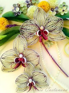 3 pale yellow orchids quilled - by: Maria Cvetanova