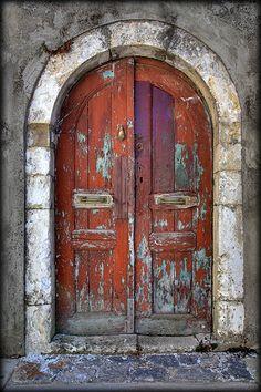 Church door in Crete~ stunning colours and textures Cool Doors, Unique Doors, Deco Baroque, Porte Cochere, When One Door Closes, Knobs And Knockers, Vintage Doors, Rustic Doors, Old Wooden Doors