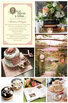 Storybook Baby Shower Here is an idea that would be perfect for a whimsical outdoor baby shower; a storybook theme! Touches of fairy tale fantasy will make this theme magical yet classic. Guests can bring their favorite childhood book as a gift for the mum-to-be to add to the baby's library. @Niki Empleo Rodriguez OMG