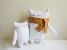 Cat Plush - Mr.White and Baby - Etsy Project Embrace. $37.00, via Etsy.