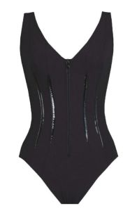 Karla Colletto Patent Zip Front One Piece