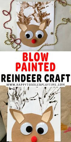 Blow Painted Reindeer Craft - HAPPY TODDLER PLAYTIME Art Activities For Toddlers, Christmas Arts And Crafts, Christmas Activities For Kids, Preschool Activities, Holiday Crafts, Winter Activities, Christmas Goodies, Toddler Preschool, Toddler Crafts