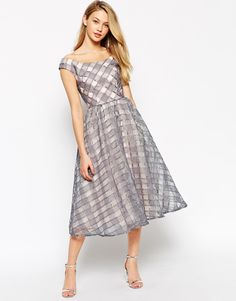 Image 4 of Little Mistress Debutante  Midi Dress In Gingham Organza With Bardot Neck