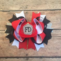 Fireman hair bow - fire hat - firefighters daughter - fire bow - fire hat bow - girls hair bow - hair clip - firefighter - fireman - daddy's by BBgiftsandmore on Etsy