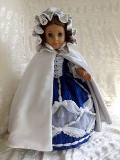 AG Ball Gown of royal blue crinkled taffeta (design based on a  1774 fashion plate) $229,  White Velvet silver lined Cape $79, & Hoop Skirt $39 by DollSizeDesigns on Etsy