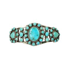 Native American Coin Silver Turquoise Cuff