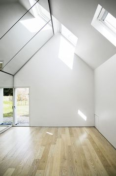This space. Sunlights and wooden floors and white walls and out to a garden. Yes. Please.
