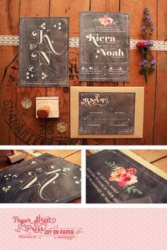 Rustic Wedding Invitations Suite   Monogram by PaperStreetPress