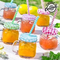 Do you not already have the Vintage Coconut Jars with Lid and Straw (pack of Wait no longer and get these fashionable jugs now for all your parties! Carafe, Small Glass Jars, Cute Water Bottles, Cocktails, Vintage Jars, Pots, Cute Mugs, Punch Bowls, Mason Jars