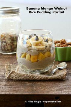 Brown Rice hot cereal Pudding Parfait with Banana, Mango and Walnuts.  via @Richa Jain | Vegan Richa/ // #banana #vegan #mango #walnut #ricepudding #recipe